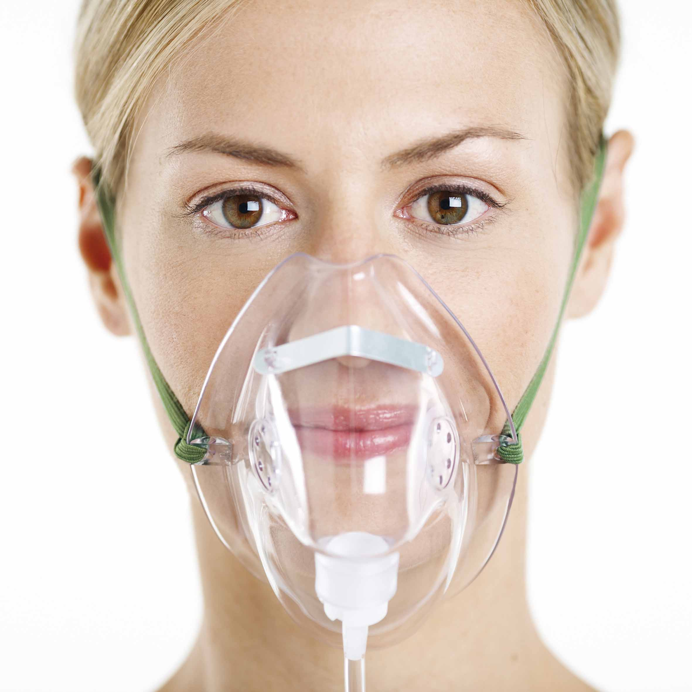 Woman Wearing Oxygen Mask